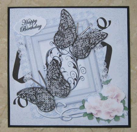 3D Butterflies - Black & White in Card Gallery