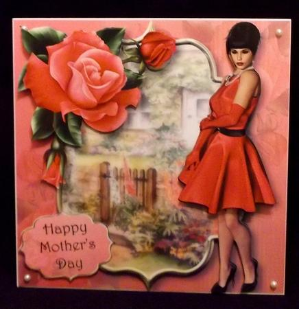 Ladies Day with Deep Pink Roses 8x8 Mini Kit in Card Gallery