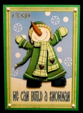 We Can Build a Snowman Decoupage Card Front - Green in Card Gallery