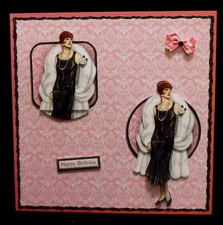 Lady in Black with Pink Rose Decoupage in Card Gallery