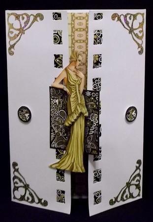 Lady in Yellow Dress Decoupage in Card Gallery