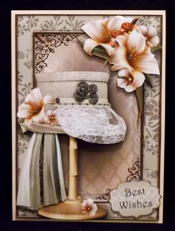 Steampunk Top Hat with Lace & Ivory Lilies Mini Kit in Card Gallery