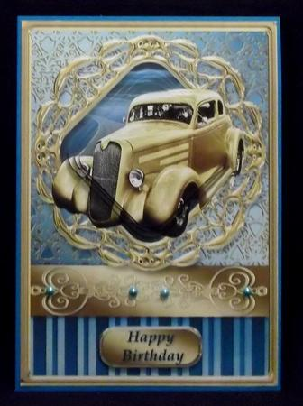 Gold Car Franed Pyramid Card in Card Gallery