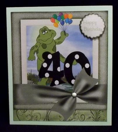 Large Age 40 Froggy Card Front in Card Gallery