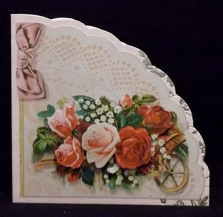 Triangle Scallop Shaped Card with a Wheelbarrow in Card Gallery