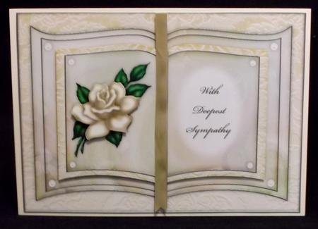 Cream Rose - with Deepest Sympathy - Book Sheet in Card Gallery