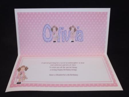 Girlz Birthday Olivia Large Dl Matching Large Dl Insert in Card Gallery