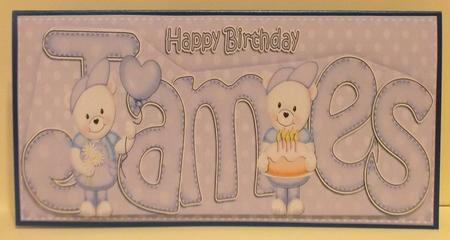 Large Dl Birthday James Teddy Card N 3D Decoupage in Card Gallery