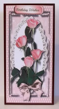 Lovely Pink D.l with Roses and Verse , in Card Gallery