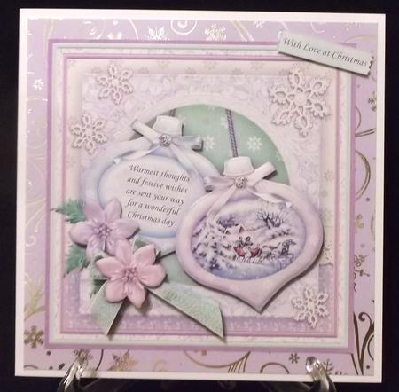 Christmas Baubles Sleigh Ride Decoupage 8x8 Mini Kit in Card Gallery