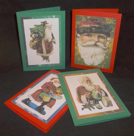Vintage Christmas Santas A6 Card Fronts in Card Gallery