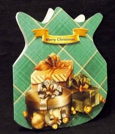 Green Presents Christmas Bag in Card Gallery