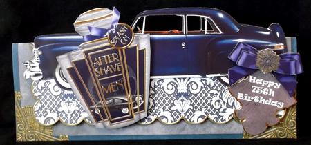 Mens Blue Aftershave Large Dl Ote with Decoupage Card Kit in Card Gallery