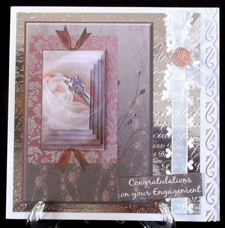 Engagement Pyramid Cream Rose Floral Swirl in Card Gallery
