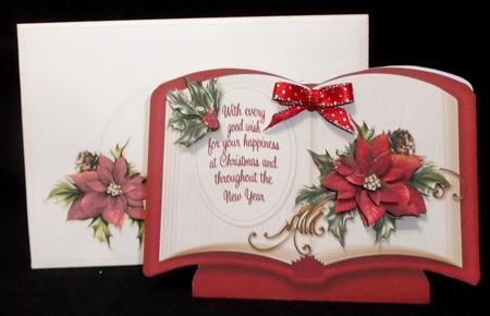 Christmas Book - Poinsettia with Holly in Card Gallery
