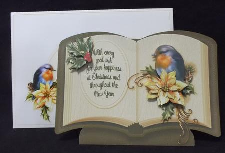 Christmas Book - Cream Poinsettia with Robin in Card Gallery