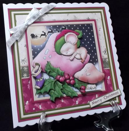 Not a Mouse is Stirring 7.5 Christmas Decoupage Mini Kit in Card Gallery