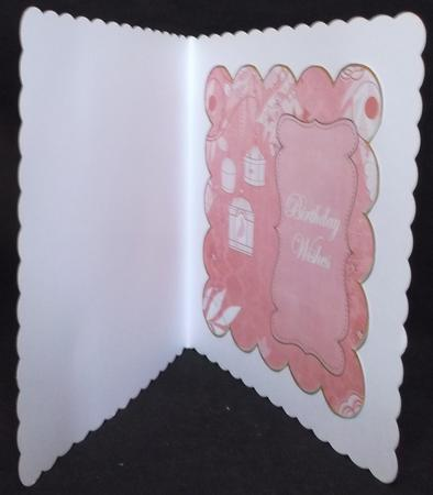 Pink Birdcage Birthday Wishes 8in Scallop Insert Panel in Card Gallery