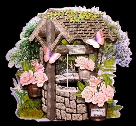 Peach Roses Wishing Well Shaped Card in Card Gallery