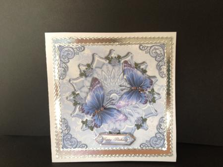 Card Gallery - Gorgeous blue and lilac butterfly's on satin card front