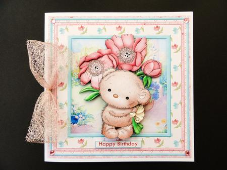 Card Gallery - BOUQUET TEDDY Floral Poppies 8x8 Mini Kit & Decoupage