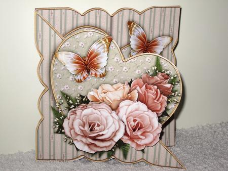 Card Gallery - Shabby Chic Roses All in One Over the Edge