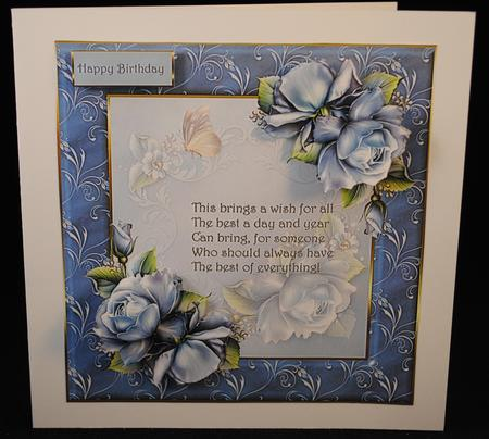 Card Gallery - Blue rose and butterfly with verse card