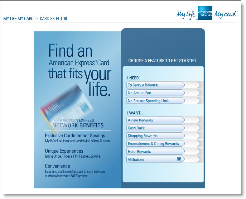 Amex_mylifemycard_selector