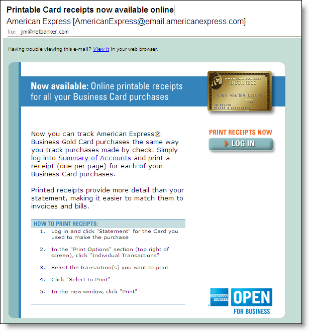 online card receipts from american express finovate