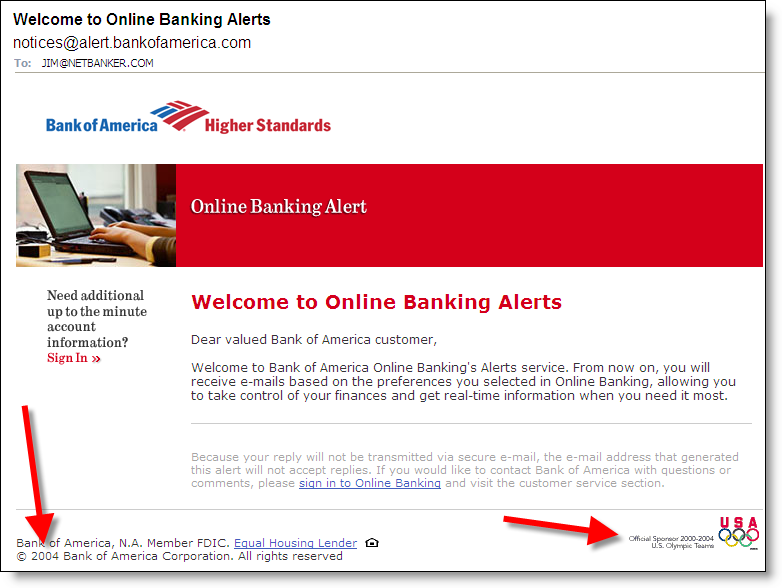 how to get alert emails for banking