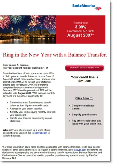 Bank of America email with 3.99% credit card balance transfer CLICK TO ENLARGE