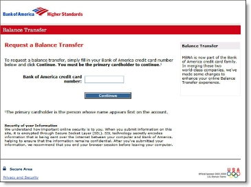 Bank of America landing page from credit card email CLICK TO ENLARGE