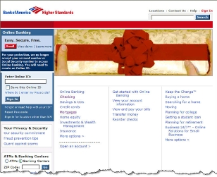 Bank of America holiday homepage before CLICK TO ENLARGE