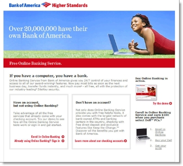 BofA landing page from NY Times ad CLICK TO ENLARGE