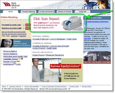 First Mutual Bank showcases remote deposit capture on homepage CLICK TO ENLARGE