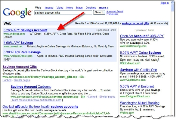 "Google results for ""savings account gifts"" CLICK TO ENLARGE"