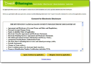 Direct Huntington pre-application consent for electronic disclosure