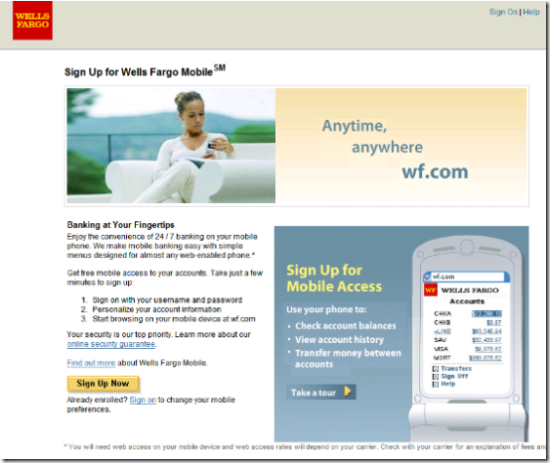 Wells Fargo landing page for mobile banking