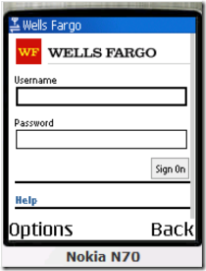 Wells Fargo mobile banking login as displayed on Nokia N70