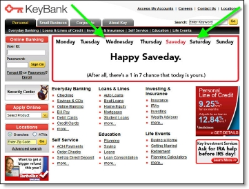 Key Bank homepage with Saveday banner CLICK TO ENLARGE