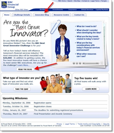 RBC's student innovation challenge main page CLICK TO ENLARGE