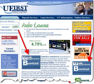 Ufirst Federal Credit Union publicizes the board's blog on its homepage (25 Jan 2007) CLICK TO ENLARGE