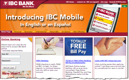 IBC Bank features mobile banking on homepage (2 Oct 2008)