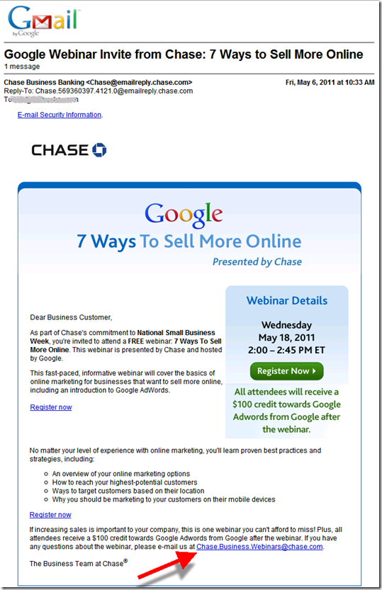 Chase Email to Existing Business Clients announcing webinar with google