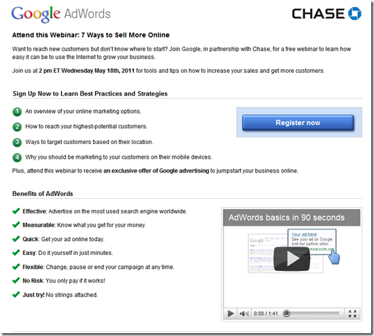 Registration page hosted by Google and co-branded with Chase