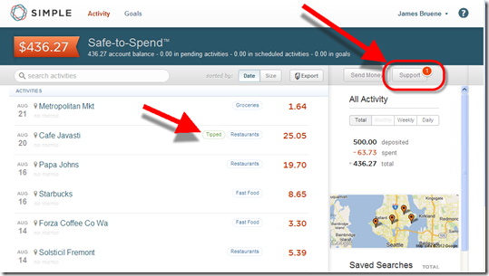 Simple's main online banking page shows a red number badge in right-hand corner when an unread message is waiting
