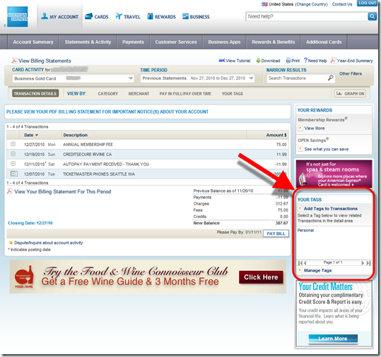 American Express online account managment with tagging function