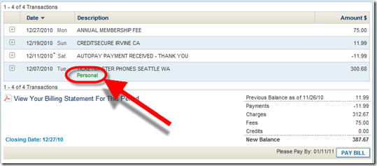 """American Express online transactkion listing showing user generated """"tag"""""""