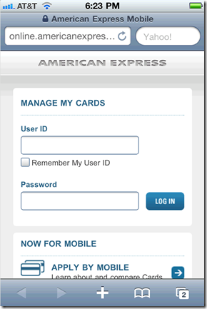 """6. The American Express """"Gift Card site"""" as seen through an iPhone 4"""