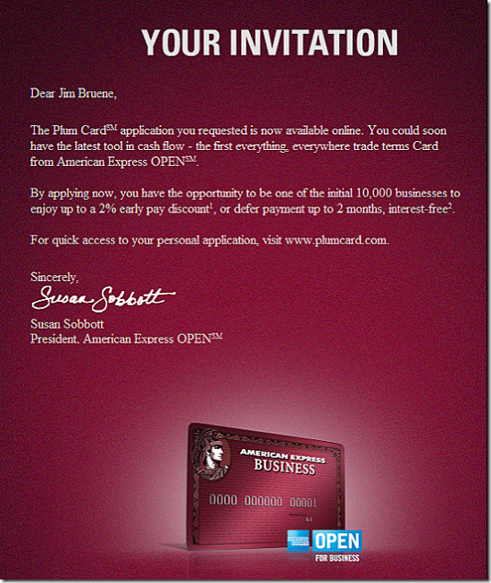 American Express email invite for Plum Card